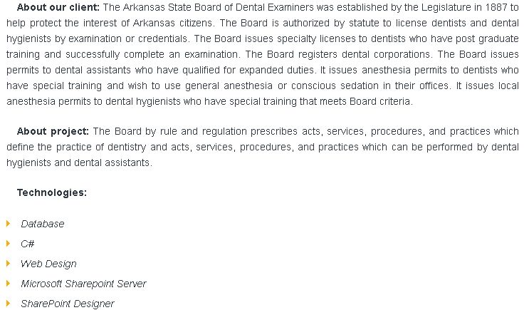 Arkansas State Board of Dental Examiners | Soft Group